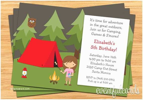 Camping Birthday Invitations Girls Camping Birthday Party Invitation by eventfulcards