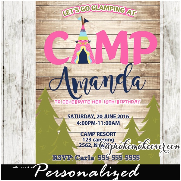 Camping Birthday Invitations Glam Camping Party Invitation for Girls Rustic Wood