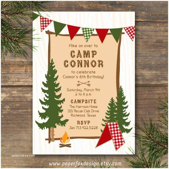 Camping Birthday Invitations Party Invitation Camp theme Diy Printable by Paperfoxdesign