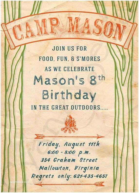 Camping Birthday Invitations Printable Birthday Camp Invitation 5x7 Vintage Camping