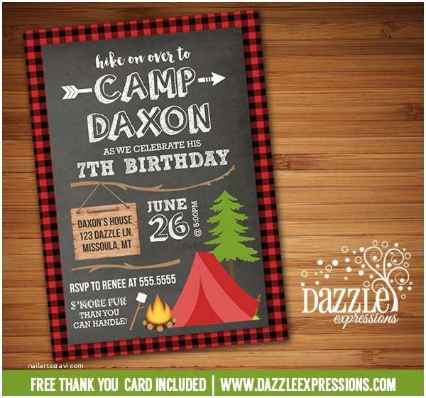 Camping Birthday Invitations Printable Chalkboard Plaid Camping Birthday Invitation