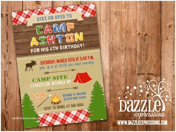 Camping Birthday Invitations Printable Rustic Camping Birthday Invitation Backyard