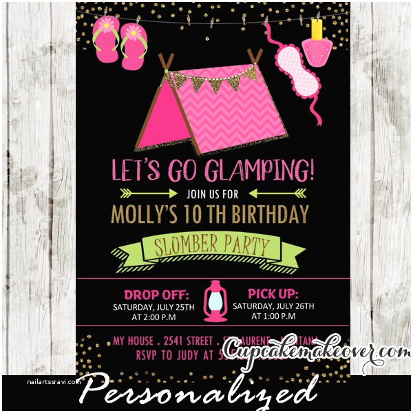 Camping Birthday Invitations Sleepover Camping Birthday Invitations Girls Glamping