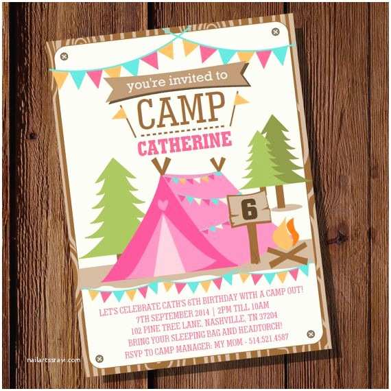 Camping Birthday Party Invitations Backyard Camping Party Invitation for A Girl