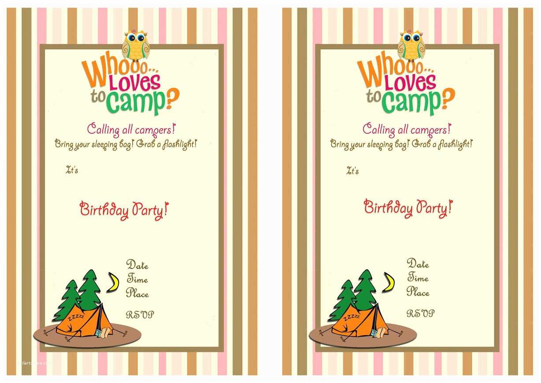 Camping Birthday Party Invitations Camping Birthday Invitations – Birthday Printable