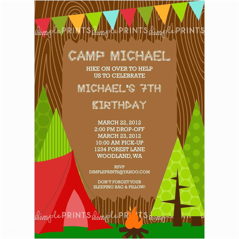 Camping Birthday Party Invitations Camping Boy Printable Invitation