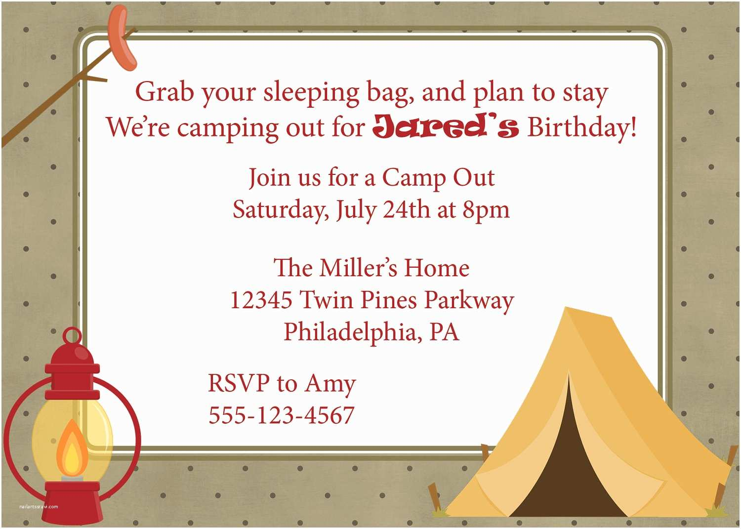 Camping Birthday Party Invitations Campout Invitation Camping Camp Out Invite Diy Printable Boys