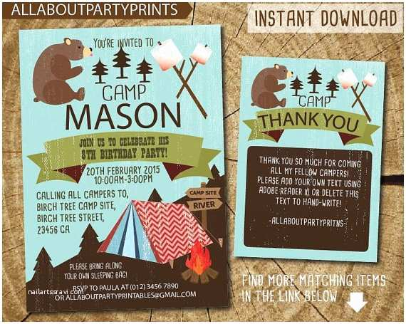 Camping Birthday Party Invitations Instant Downloading Camping Birthday Party Invitation
