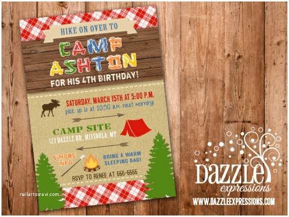 Camping Birthday Party Invitations Printable Rustic Camping Birthday Invitation Backyard