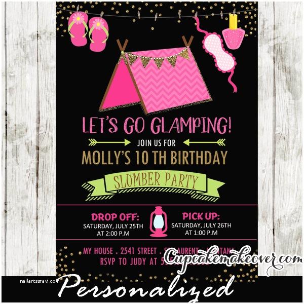 Camping Birthday Party Invitations Sleepover Camping Birthday Invitations Girls Glamping