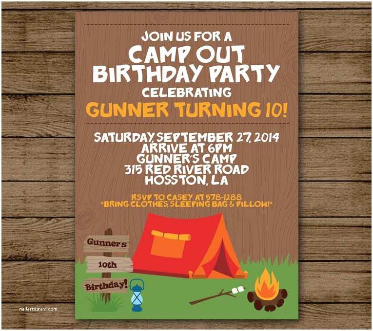 Camping Party Invitations Birthday Party Invitation Camp Out Customized Boy Birthday