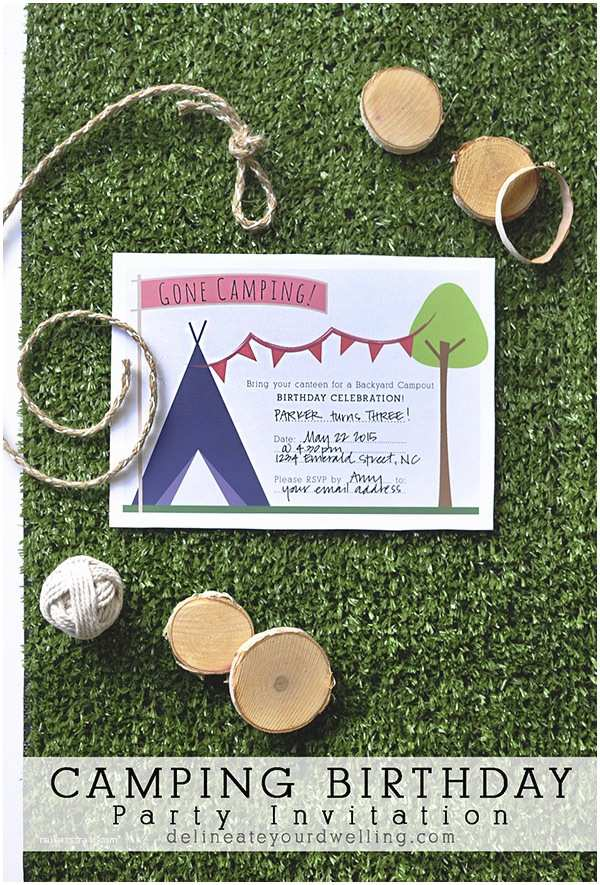 Camping Party Invitations Camping Birthday Party Invitation