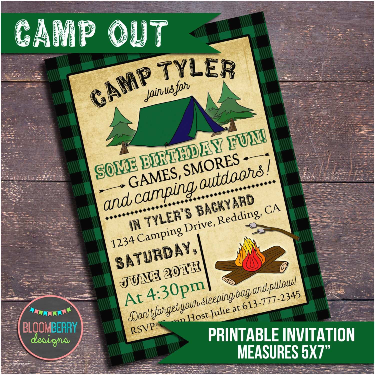 camping party invitation campout party