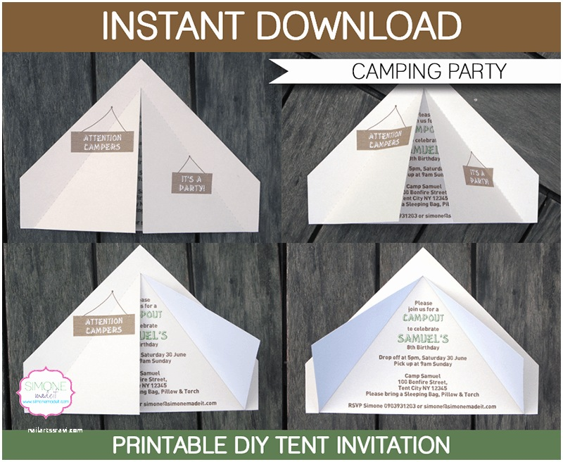 Camping Party Invitations Camping Tent Invitation Template