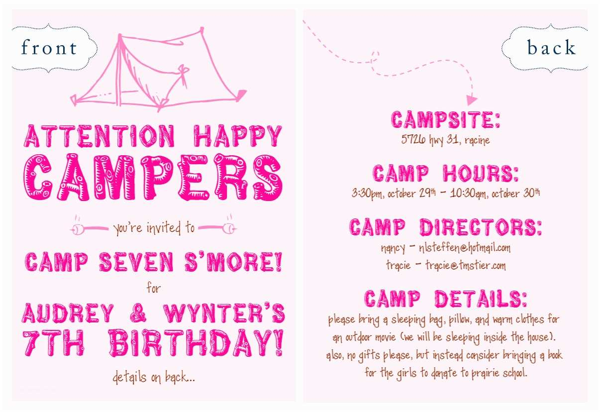Camping Party Invitations Nellie Design In Demand Camping Party Invites