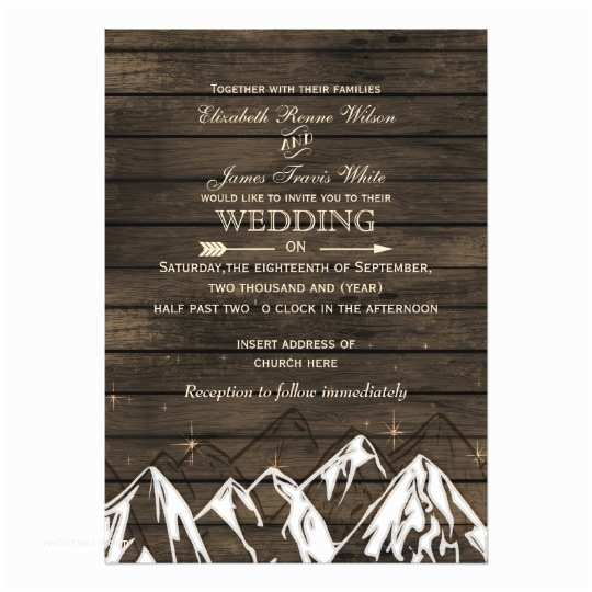 Camping Wedding Invitations Barnwood Camping Rustic Mountains Wedding Invites