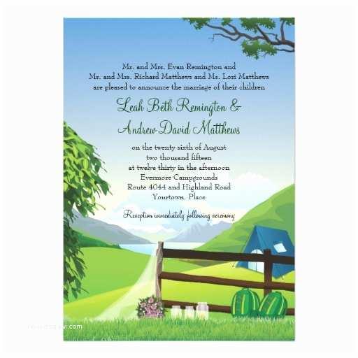 Camping Wedding Invitations Camping Wedding 5x7 Paper Invitation Card