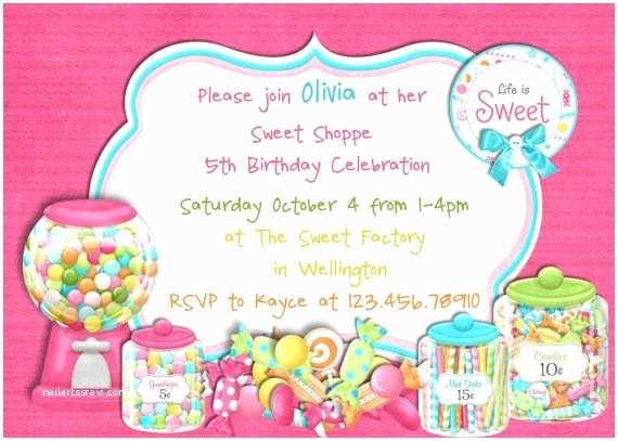 Candyland Baby Shower Invitations Candy Birthday Invitation Candyland Printable Invite