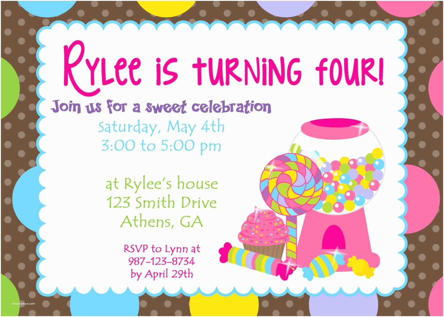 Candyland Baby Shower Invitations Candy Party Invitations