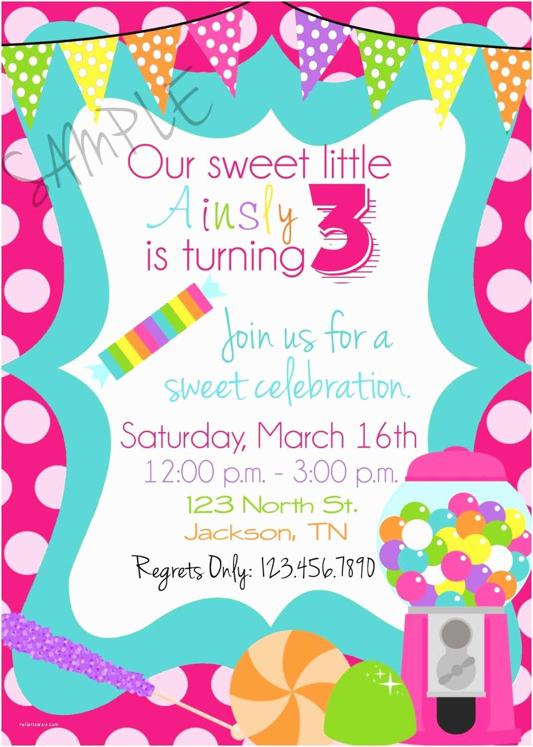 Candyland Baby Shower Invitations Candy  Shop Birthday Party Invitations Candy