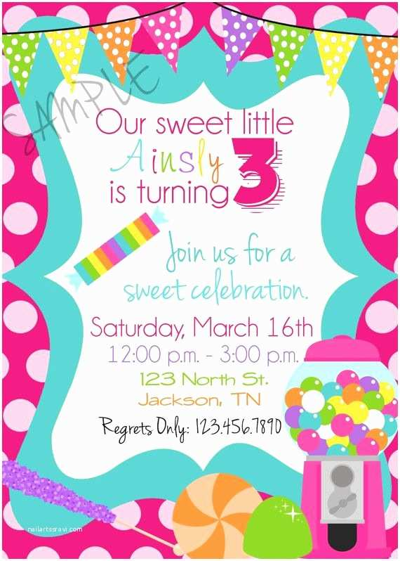 Candyland Baby Shower Invitations Candy Sweet Shop Birthday Party Invitations Candy Sweet
