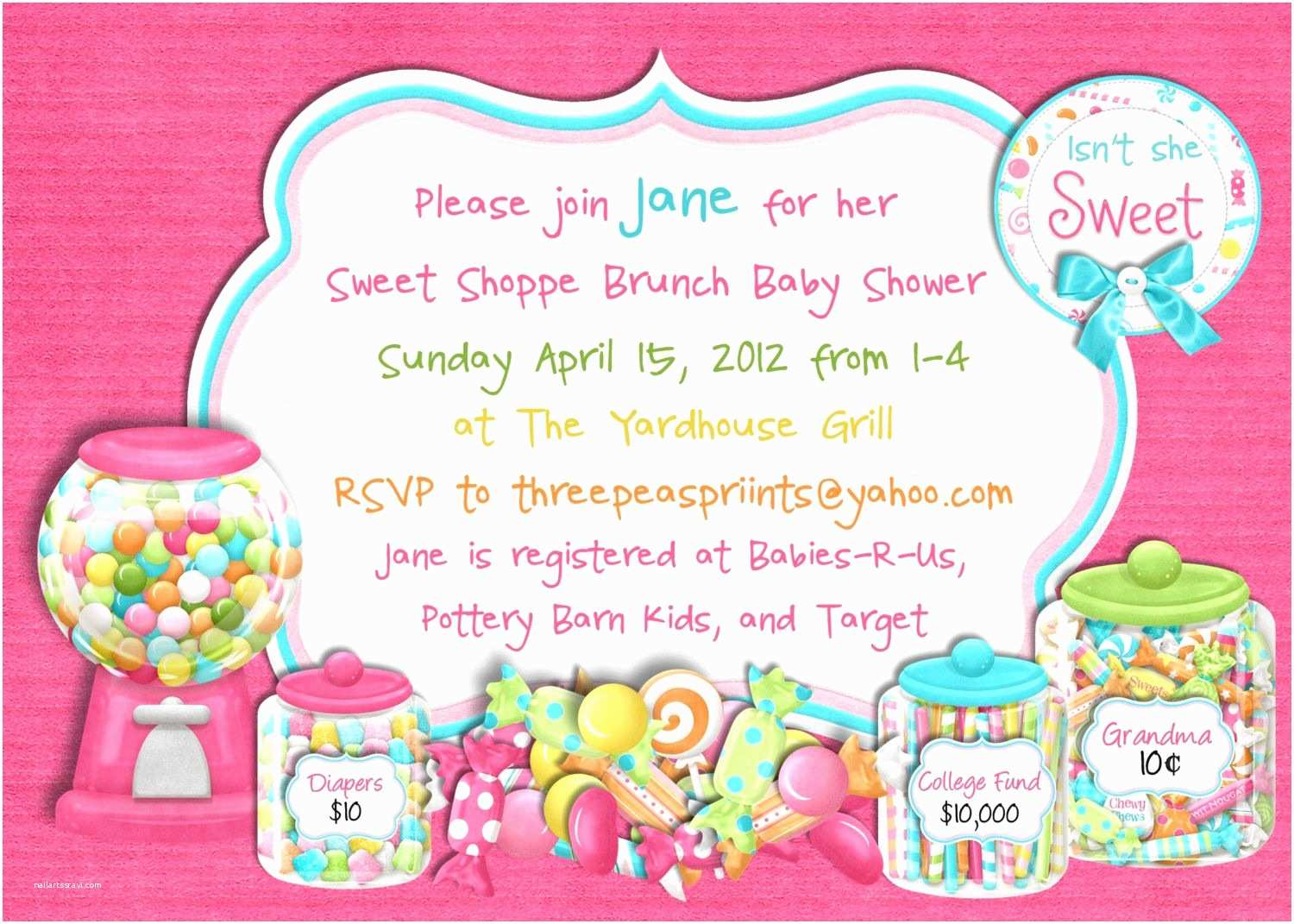 Candyland Baby Shower Invitations Candy Sweet Shoppe Baby Shower Invitation Sweet 16