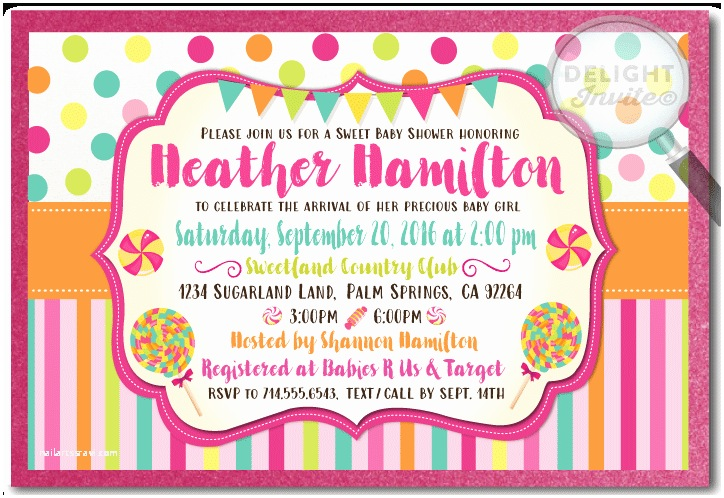 Candyland Baby Shower Invitations Candy themed Baby Shower Invitation Envelope [di 4523env