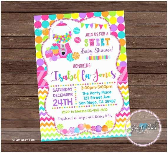 Candyland  Shower Invitations Candyland  Shower Party Invitation Candy Land