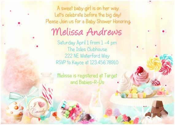 Candyland Baby Shower Invitations Chic Creations Events Baby Shower Theme Candy