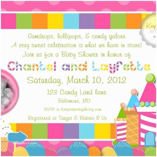 Candyland Baby Shower Invitations Custom Photo Candyland Baby Shower Invitation