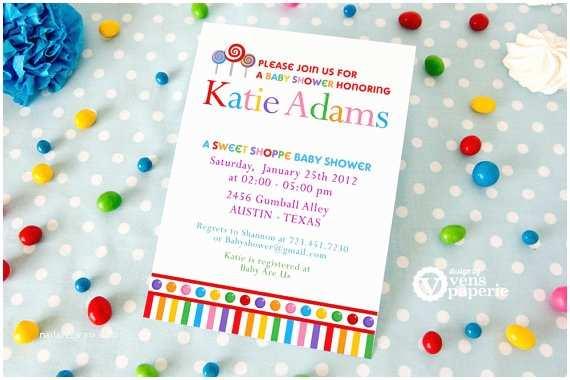 Candyland Baby Shower Invitations Diy Printable Invitation Card Lollipop Candy Land