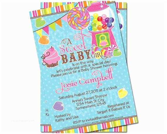 Candyland  Shower Invitations Invitation For  Shower Surprising Candyland