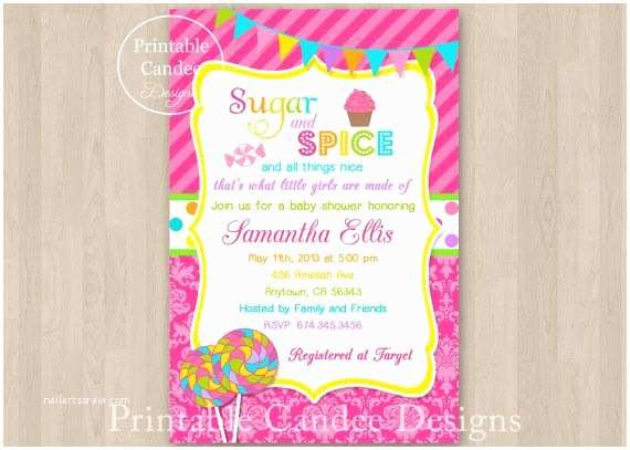 Candyland Baby Shower Invitations Sugar and Spice Baby Shower Invitation Diy by