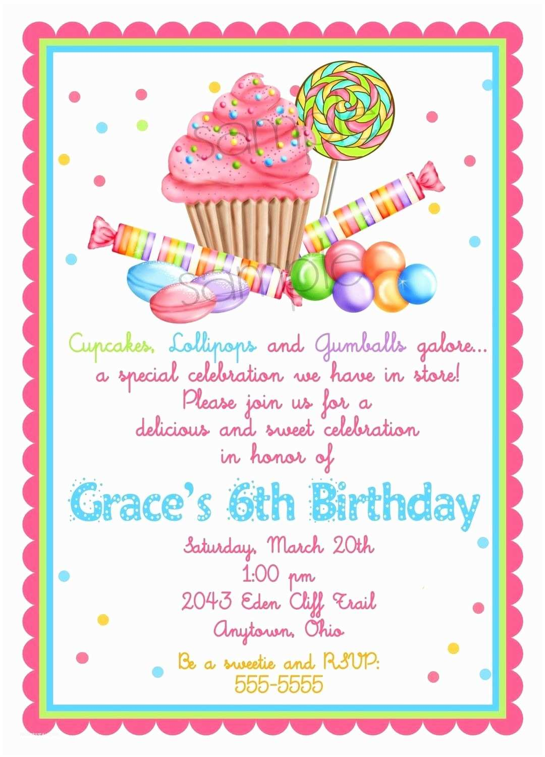 Candyland Baby Shower Invitations Sweet Shop Birthday Party Invitations Candy
