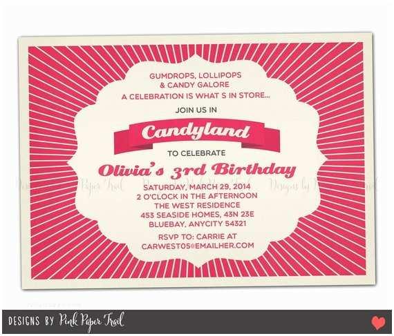 Candyland Baby Shower Invitations Sweet Shoppe Candyland Invitation Customizable