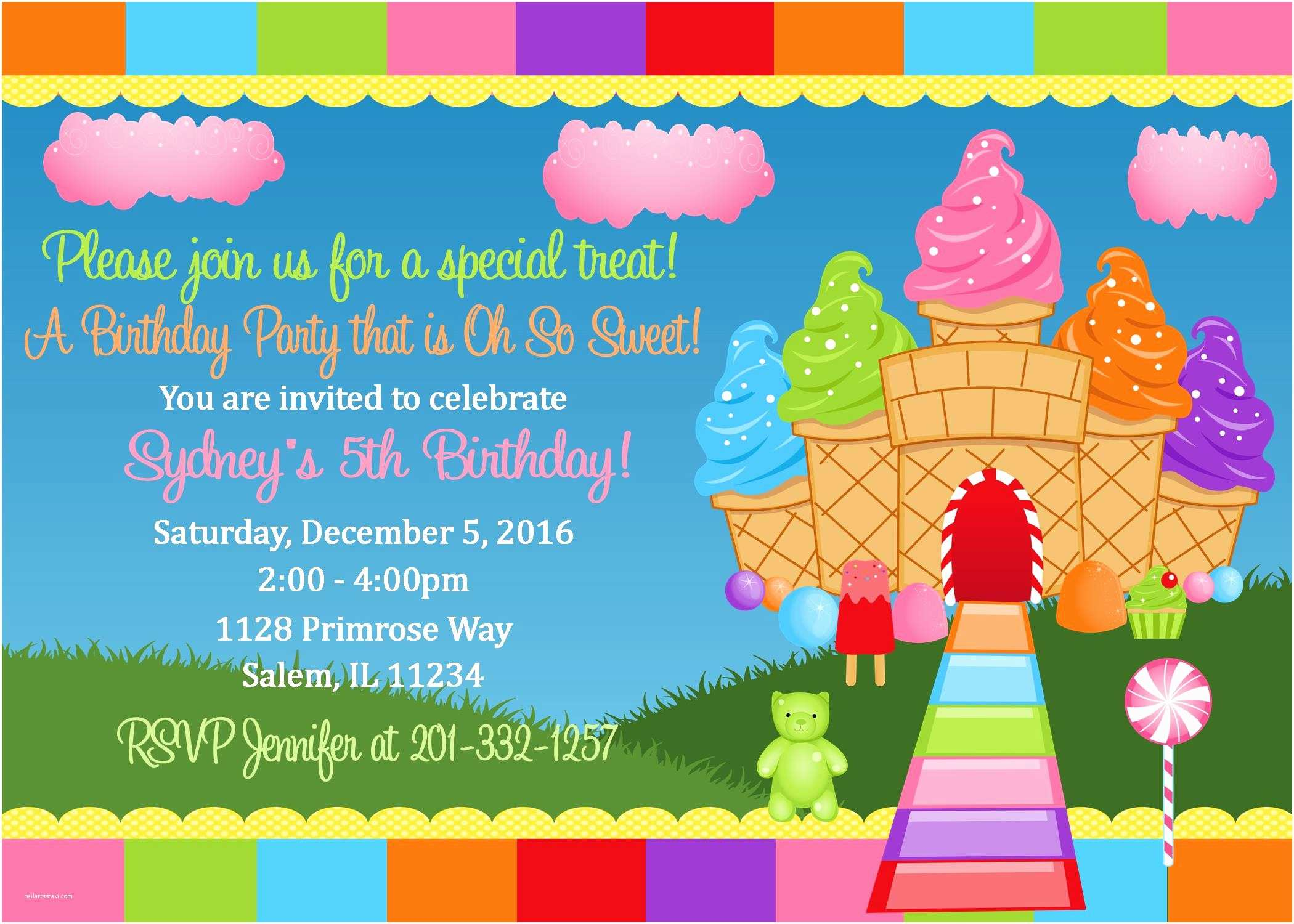 Candyland Birthday Invitations Candyland Birthday Invitation