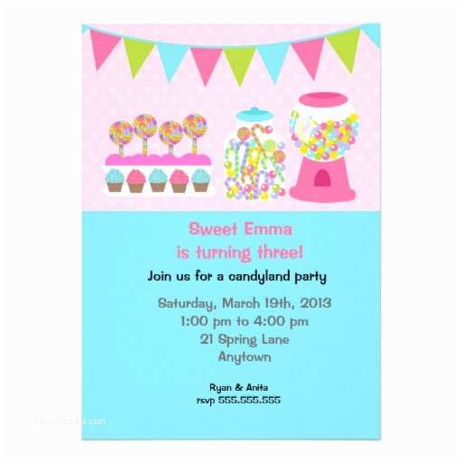 "Candyland Birthday Invitations Candyland Birthday Party Invitations 5"" X 7"" Invitation"