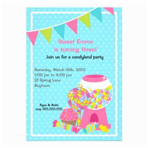 Candyland Birthday Invitations Candyland Birthday Party Invitations