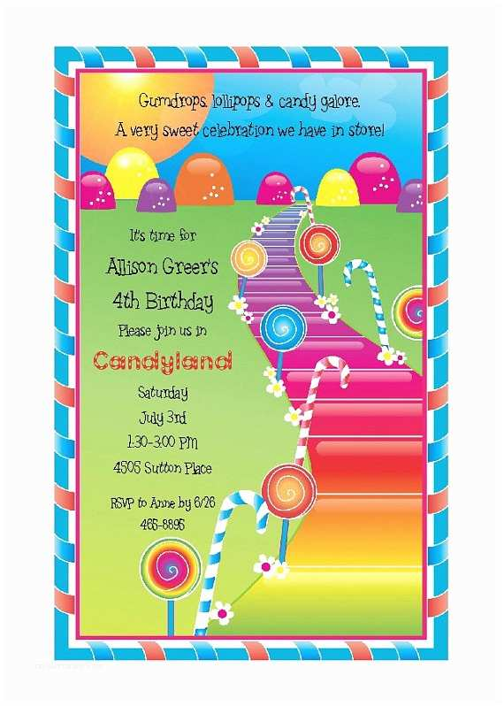 Candyland Birthday Invitations Candyland theme Party Invitation Candy
