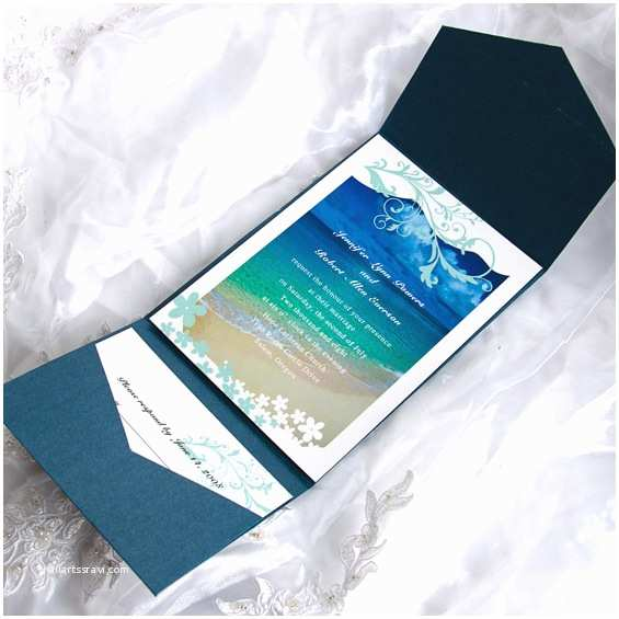 Cards and Pockets Wedding Invitations Blue Beach Cards with Cheap Blue Pockets Wedding