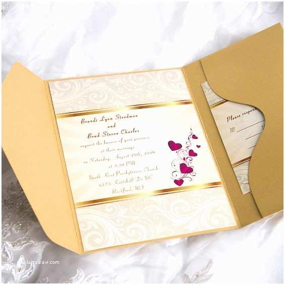 Cards and Pockets Wedding Invitations Elegant Gold Damask and Red Hearts Pocket Wedding