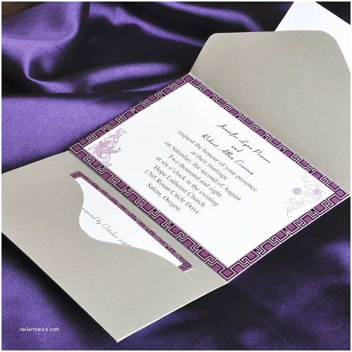 Cards and Pockets Wedding Invitations Elegant Purple and Gray Pocket Wedding Invitation Cards