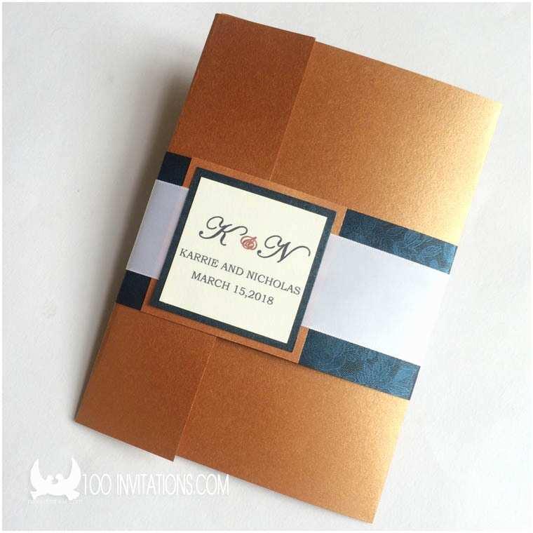 Cards and Pockets Wedding Invitations Natural Auburn Pocketfold Wedding Invitations Pearl Paper