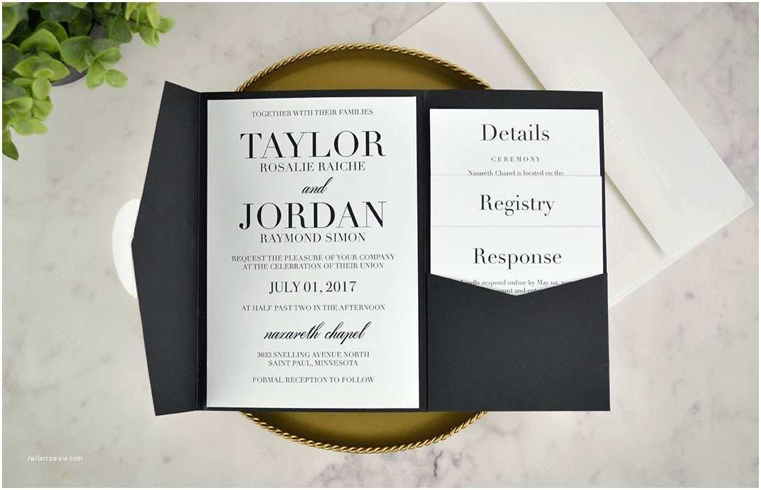 Cards and Pockets Wedding Invitations Real Diy Wedding Invitation Classic Black & White Pocket