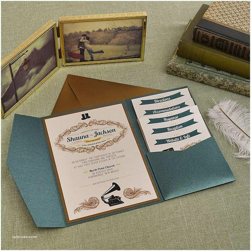 vintage emerald and antique gold wedding pocket invitation