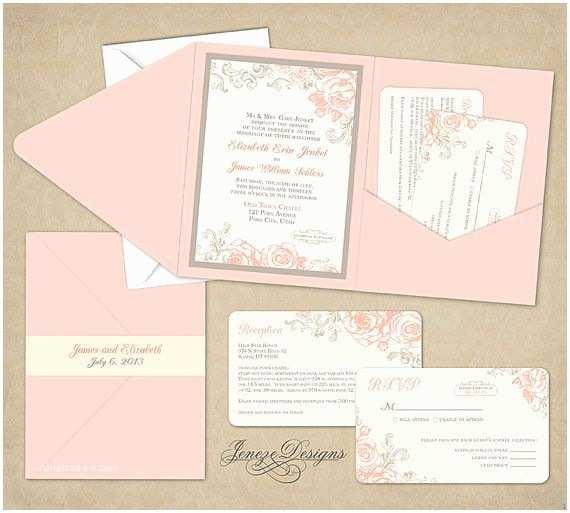 Cards and Pockets Wedding Invitations Wedding Invitation Pocket Fold by Jeneze On Etsy $35 00