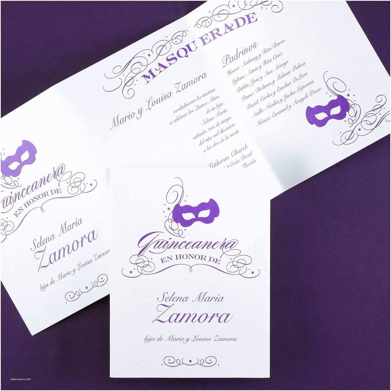 Carlson Craft Wedding Invitations Masquerade Invitation Quinceañera