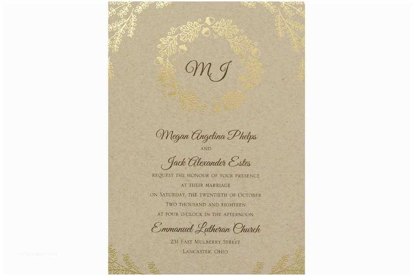 Carlson Wedding Invitations Fall Wedding Invitations Kraft Paper & Gold Foil Wedding