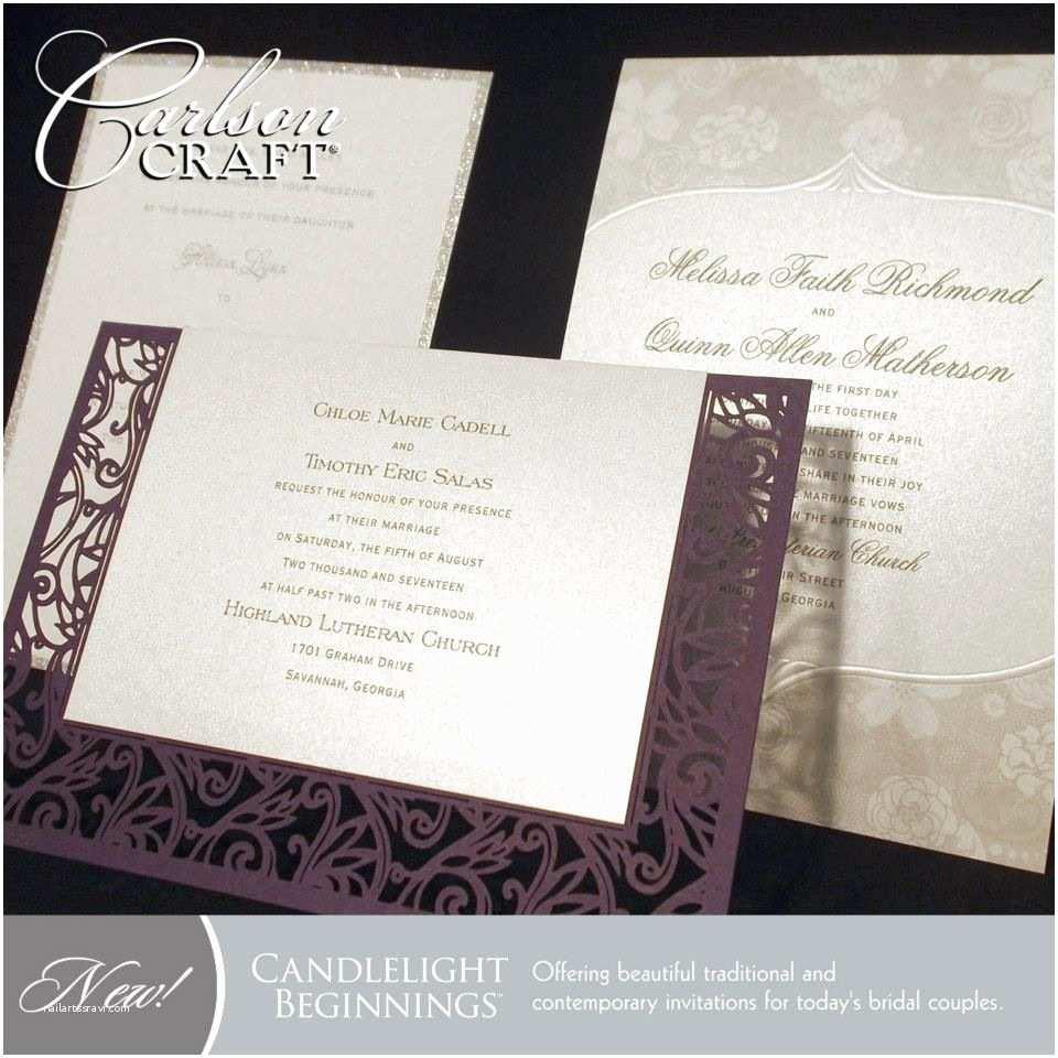 Carlson Wedding Invitations the New Candlelight Beginnings Album From Carlson Craft