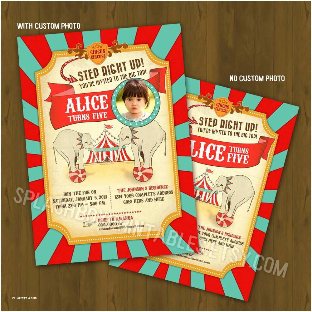 Carnival Birthday Invitations Circus Invitation Vintage By
